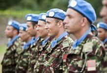 Casques bleus marocains déployés au sein de la BINUCA en République centrafricaine (Bangui - août 2014. UN Photo/Catianne Tijerina)