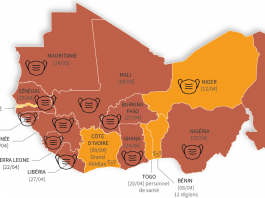 Carte Afrique de l'Ouest Covid-19